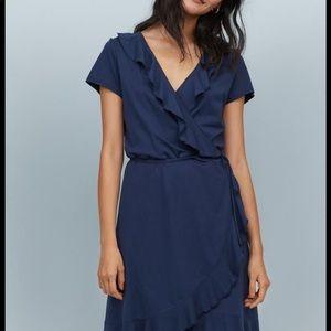Simple navy wrap dress